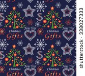seamless christmas texture with ... | Shutterstock .eps vector #338027333