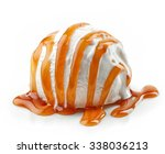 Stock photo ice cream with caramel sauce isolated on white background 338036213