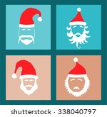 santa hats and beards | Shutterstock .eps vector #338040797