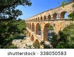 Stone Aqueduct Of Pont Du Gard...