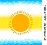 sun  sky and sea. flat vector... | Shutterstock .eps vector #338054867