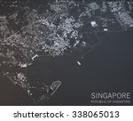 Singapore map, satellite view, section 3d, Asia