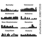set of 8 city silhouette in... | Shutterstock .eps vector #338073533