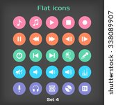 round music flat icon set 4 in...