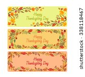 happy thanksgiving day leaves... | Shutterstock .eps vector #338118467