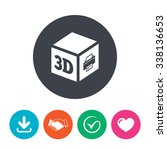 3d print sign icon. 3d cube... | Shutterstock .eps vector #338136653