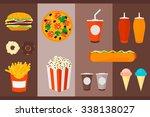 fast food   burger  hamburger ...   Shutterstock .eps vector #338138027