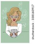 girl in glasses with blond hair ... | Shutterstock .eps vector #338160917