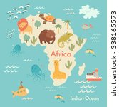 animals world map  africa.... | Shutterstock .eps vector #338165573