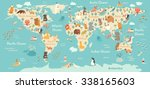 Stock vector animals world map for children kids animals poster continent animals sea life south america 338165603