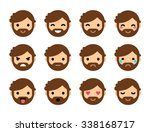 set of 12 human emoticons.... | Shutterstock .eps vector #338168717