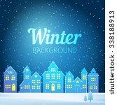 vector winter evening landscape ...   Shutterstock .eps vector #338188913