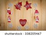 wooden christmas figurines... | Shutterstock . vector #338205467