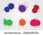 Colorful paint splatters.Paint splashes set.Vector template.