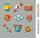 retro signs alphabet. letters... | Shutterstock .eps vector #338212943