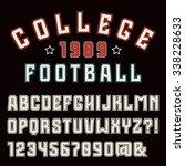 sanserif font with contour.... | Shutterstock .eps vector #338228633