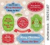 christmas wishful labels and... | Shutterstock .eps vector #338251187