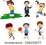 many children doing sport... | Shutterstock .eps vector #338253077