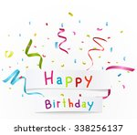 happy birthday greetings with... | Shutterstock .eps vector #338256137