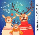 christmas reindeer family. cute ... | Shutterstock .eps vector #338328113