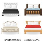 set icons furniture double bed...   Shutterstock .eps vector #338339693