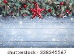 christmas greeting card   fir... | Shutterstock . vector #338345567