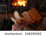 woman resting with cup of hot... | Shutterstock . vector #338350583
