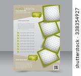 Flyer template. Brochure design. Editable A4 poster for business, education, presentation, website, magazine cover. Green color. | Shutterstock vector #338354927