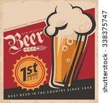 retro beer vector poster.... | Shutterstock .eps vector #338375747