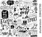 hand-drawn doodle set for calendar notebook
