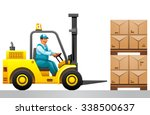 forklift truck with boxes on...   Shutterstock .eps vector #338500637