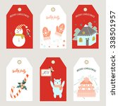 christmas tags. vector... | Shutterstock .eps vector #338501957