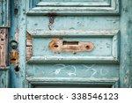 Old Blue Wooden Front Door ...