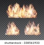 set of bright realistic fire... | Shutterstock .eps vector #338561933