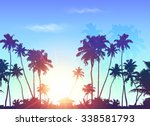 palms silhouettes at blue... | Shutterstock .eps vector #338581793