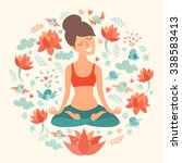 yoga pose  lotus position.... | Shutterstock .eps vector #338583413