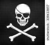 jolly roger with eyepatch logo...   Shutterstock .eps vector #338613857