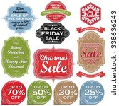 christmas sale labels and tags | Shutterstock .eps vector #338636243