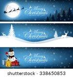 set of merry christmas  banner...