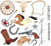 appaloosa,badge,barbed wire,branding iron,bull,clip art,cowboy,cowboy boots,elements,farm,gallop,gun,hat,horse,horse shoe
