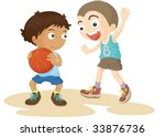 illustration of  a two boys on... | Shutterstock .eps vector #33876736