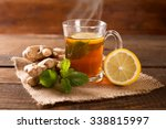 ginger tea with mint and lemon | Shutterstock . vector #338815997