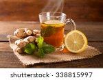 ginger tea with mint and lemon | Shutterstock . vector #338815997