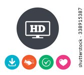 hd widescreen tv sign icon.... | Shutterstock .eps vector #338915387