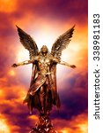 angel statue with divine light | Shutterstock . vector #338981183