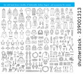 vector set with hand drawn... | Shutterstock .eps vector #339001313