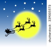 santa and reindeer flying... | Shutterstock .eps vector #339005573