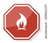 white bonfire icon on red stop... | Shutterstock . vector #339021197