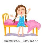 the cute girl wakes up. vector... | Shutterstock .eps vector #339046577