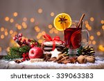 christmas mulled wine with... | Shutterstock . vector #339063383